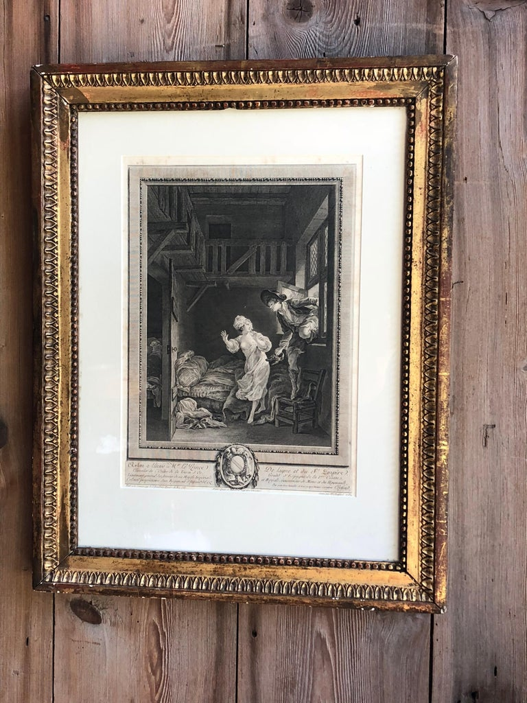 """A late 18th century French engraving titled """"Marche tout doux, parlez tout bas"""" (Walk very softly, speak very low) by Pierre Philippe Choffard (1731-1809) considered his finest work. Framed in a Period Louis XVI giltwood frame."""