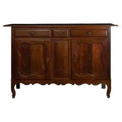 18th Century French Provincial Antique Oak Server Cabinet Console