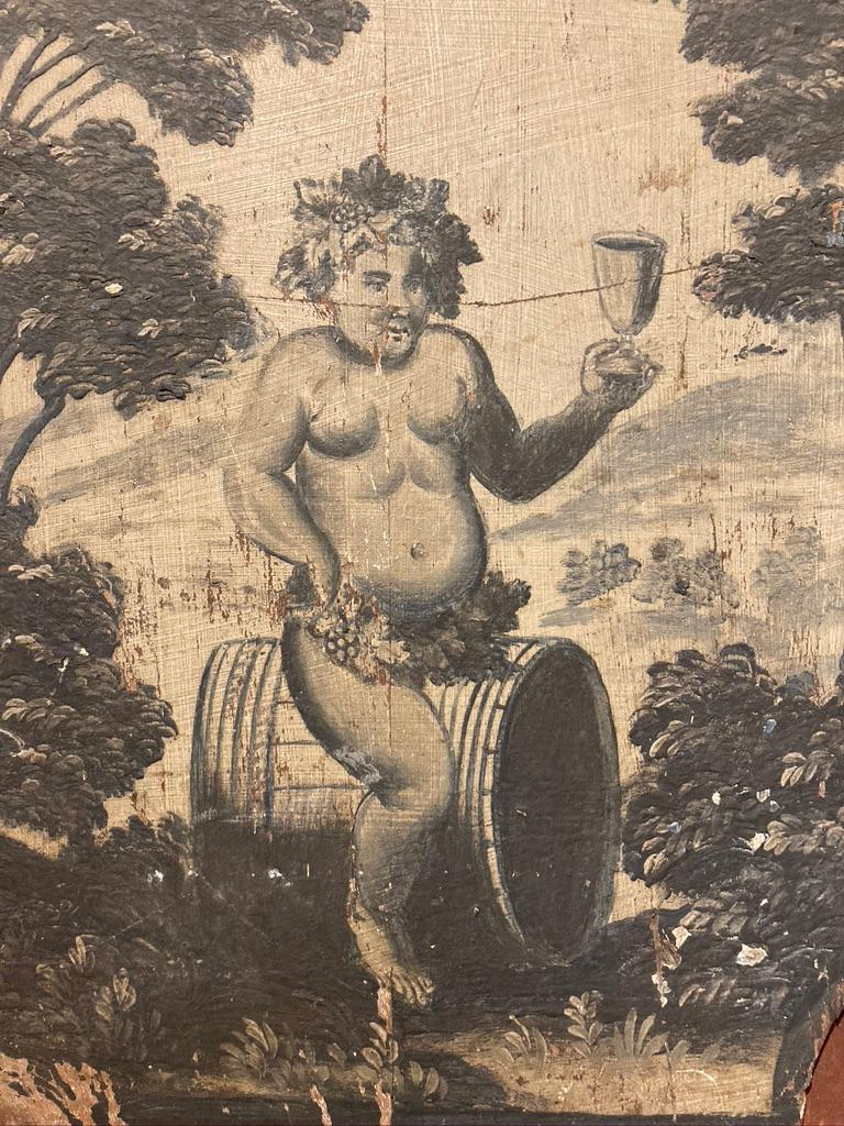 18th Century French Provincial Boiserie Panel Painting of Bacchus For Sale 5