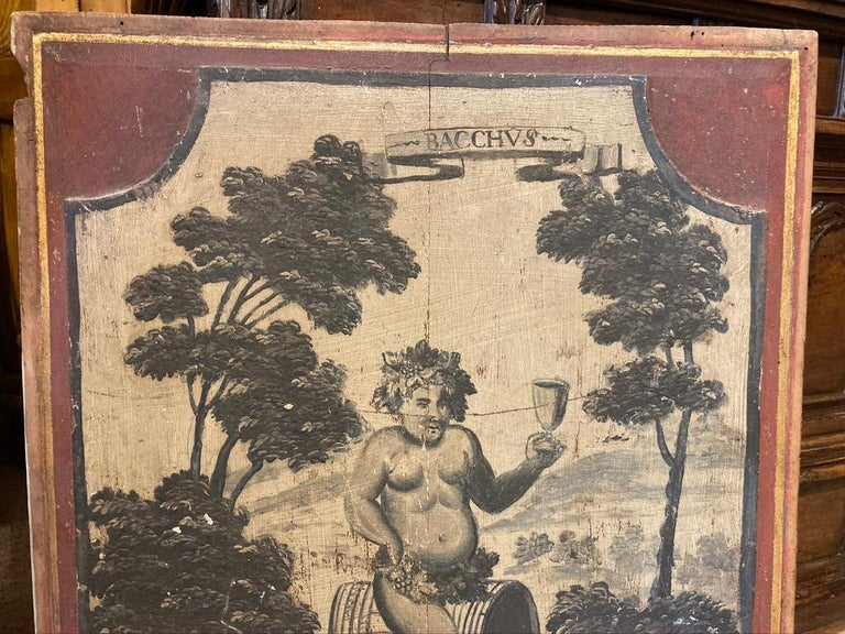 18th Century French Provincial Boiserie Panel Painting of Bacchus In Good Condition For Sale In Stamford, CT