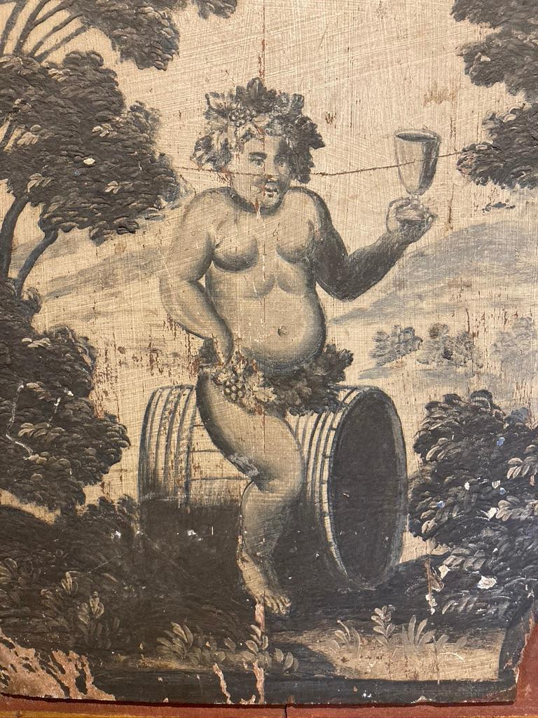 18th Century French Provincial Boiserie Panel Painting of Bacchus For Sale 1