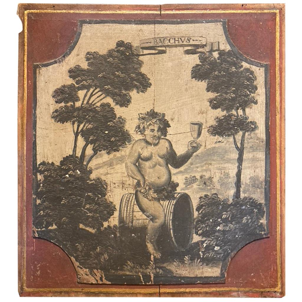 18th Century French Provincial Boiserie Panel Painting of Bacchus