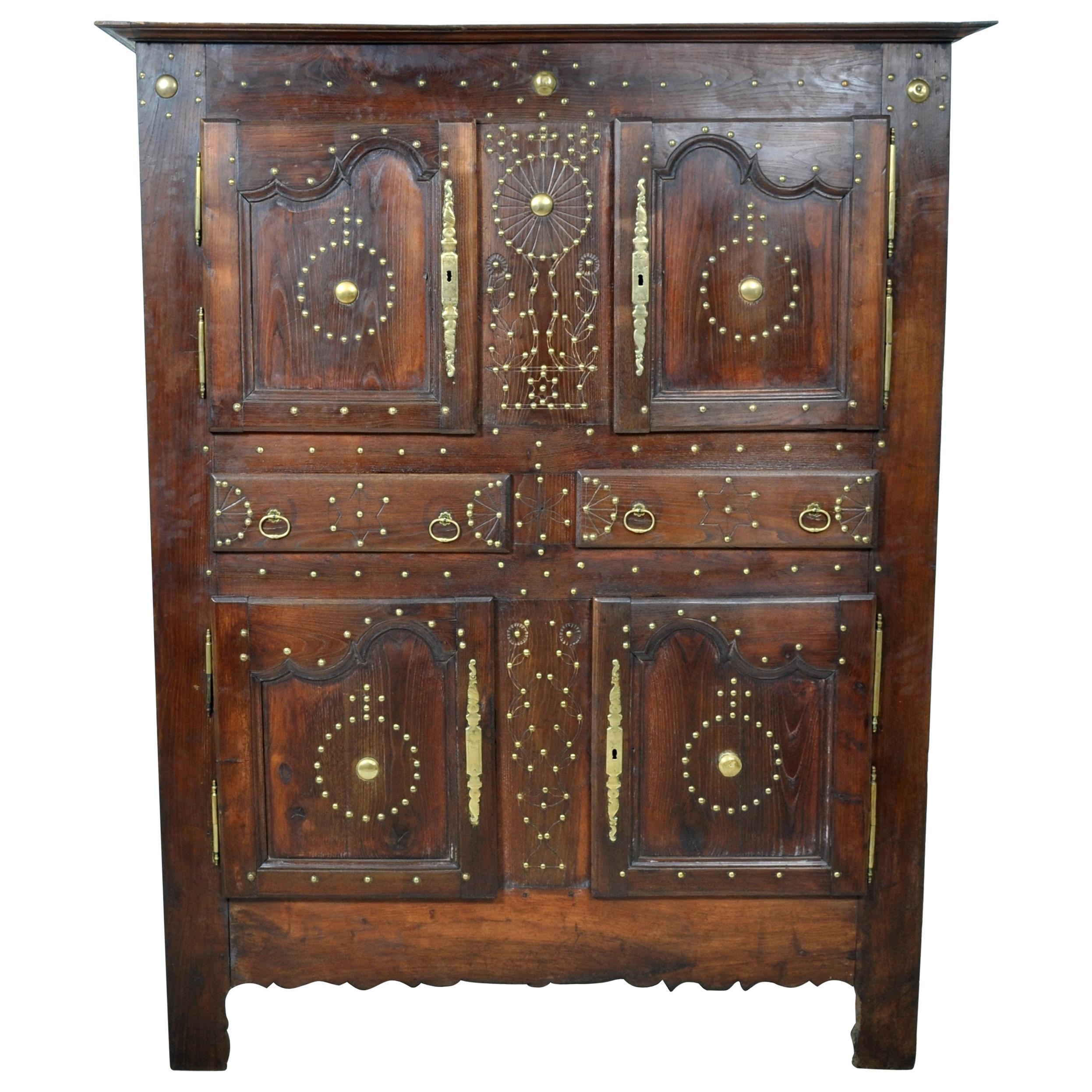 18th Century French Provincial Chestnut Brass Studwork Cabinet Cupboard Ca. 1720