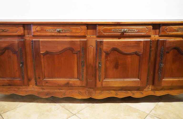 18th Century French Provincial Extra Long Carved Cherry Wood Buffet or Enfilade In Good Condition For Sale In Ft. Lauderdale, FL