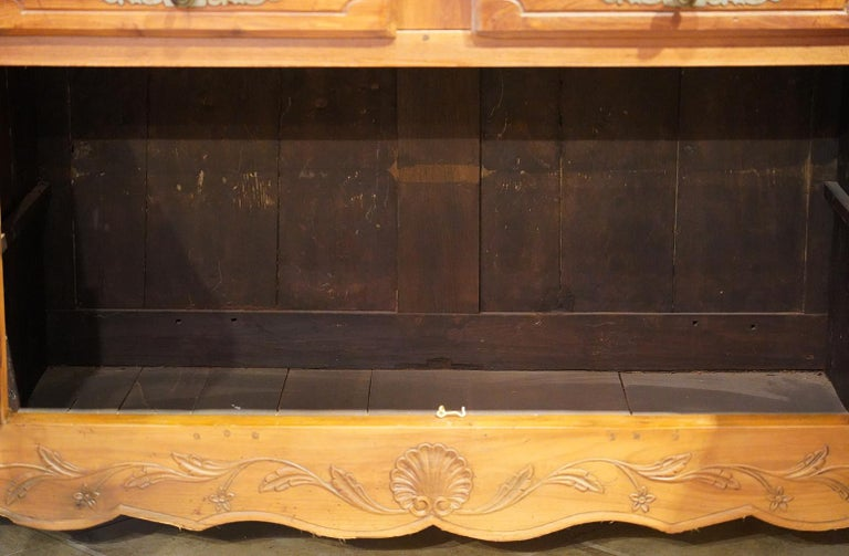 18th Century French Provincial Extra Long Carved Cherry Wood Buffet or Enfilade For Sale 2