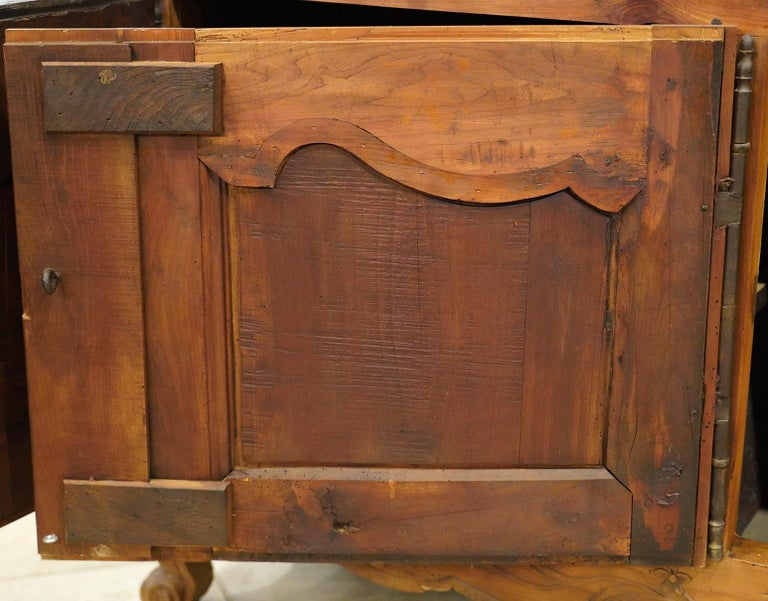 18th Century French Provincial Extra Long Carved Cherry Wood Buffet or Enfilade For Sale 3