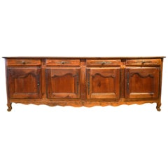 18th Century French Provincial Extra Long Carved Cherry Wood Buffet or Enfilade