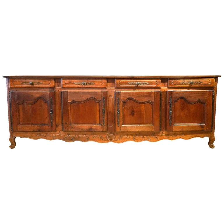 18th Century French Provincial Extra Long Carved Cherry Wood Buffet or Enfilade For Sale