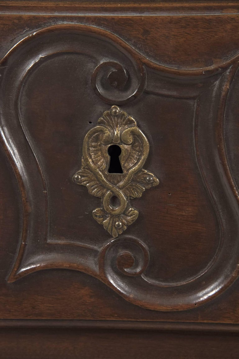 18th Century and Earlier 18th Century French Provincial Louis XV Carved Walnut Bombe Commode For Sale