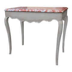 18th Century French Provincial Painted Pine Console Table with Coral Marble