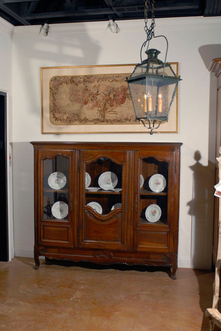 Hand-Carved 18th Century French Provincial Walnut Bibliotheque Vitrine