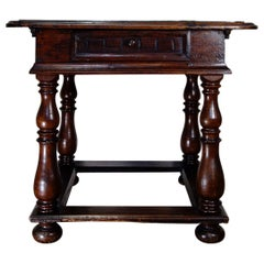 18th Century French Provincial Walnut Centre, Side Table Parquetry