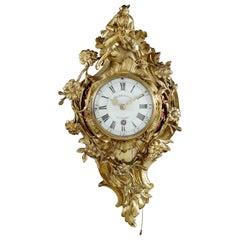 18th Century French Quarter-Repeating Ormolu Cartel Clock by Herbault À Paris