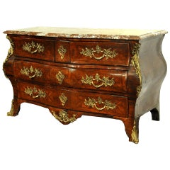 18th Century French Regence Bombe Rosewood Chest of Drawers with Red Marble Top