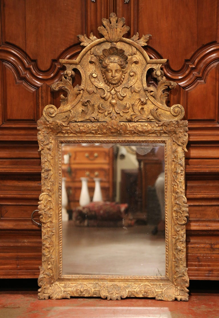 18th Century French Regence Carved Giltwood Wall Mirror