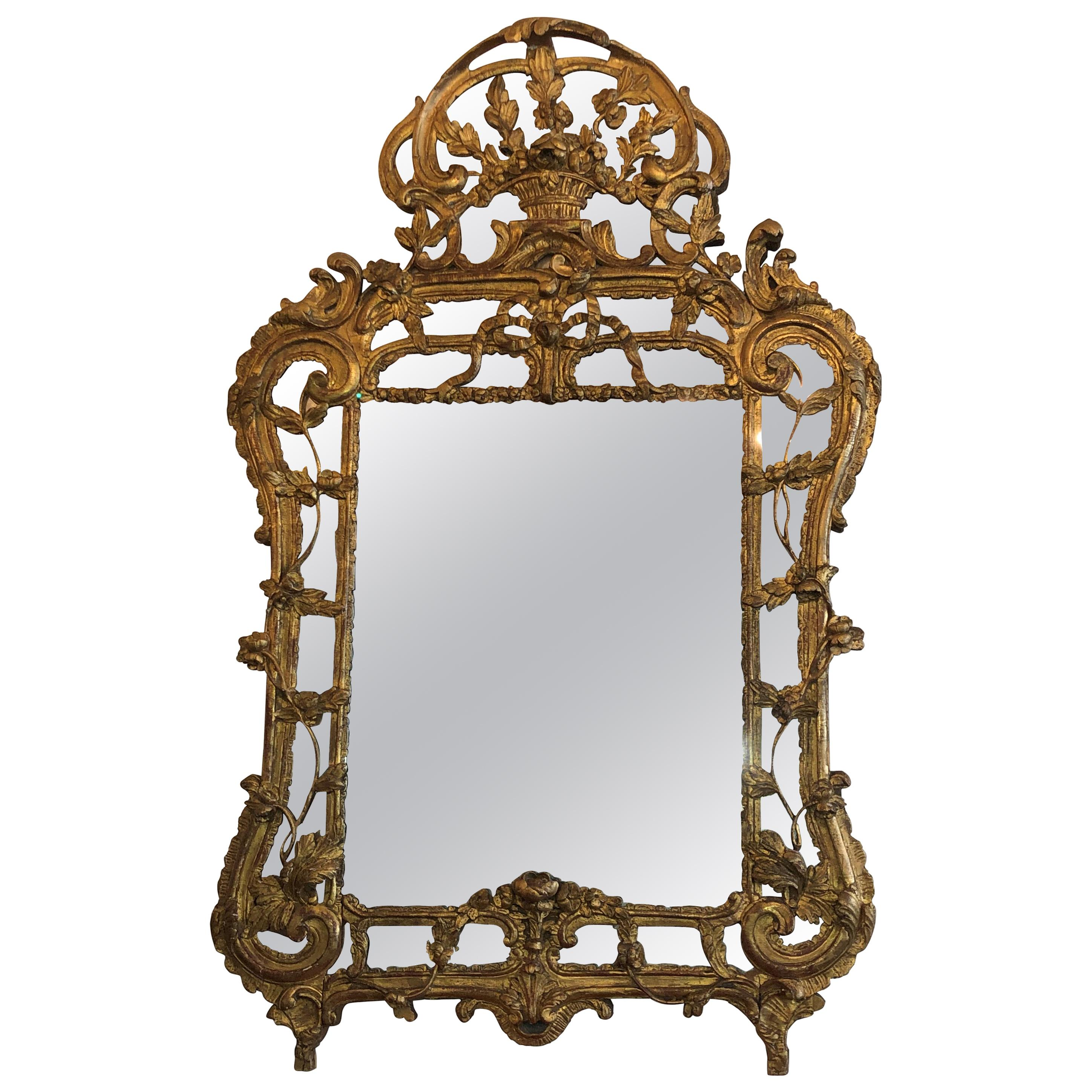 18th Century French Régence Giltwood Mirror