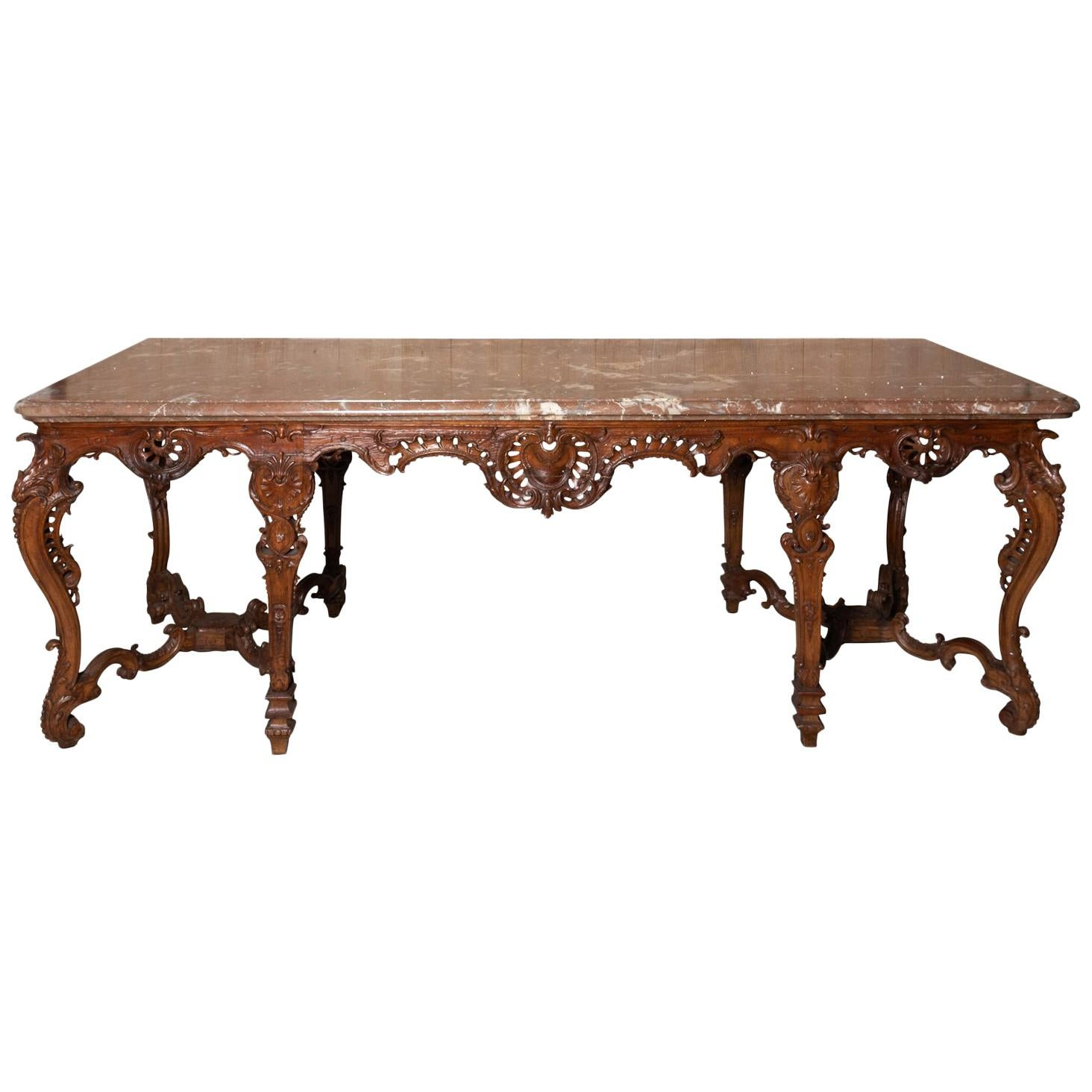 18th Century French Rococo Marble Top Console Table