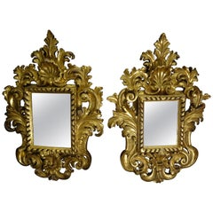 18th French Mirrors Carved and 24-Karat Gilded Couple of Baroque Mirrors