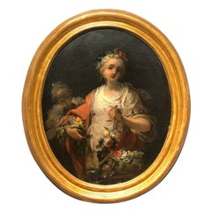 18th Century French School Oval Painting Portrait of Young Women