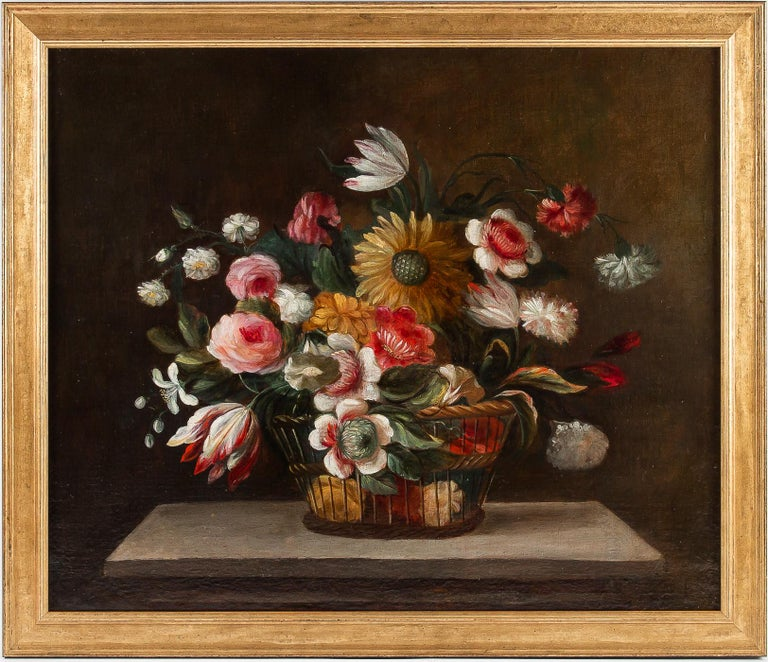 18th Century French School, Pair of Oil on Canvas Bouquets of Flowers For Sale 4
