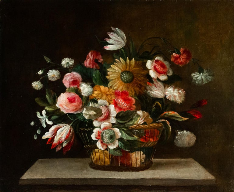 18th Century French School, Pair of Oil on Canvas Bouquets of Flowers For Sale 5