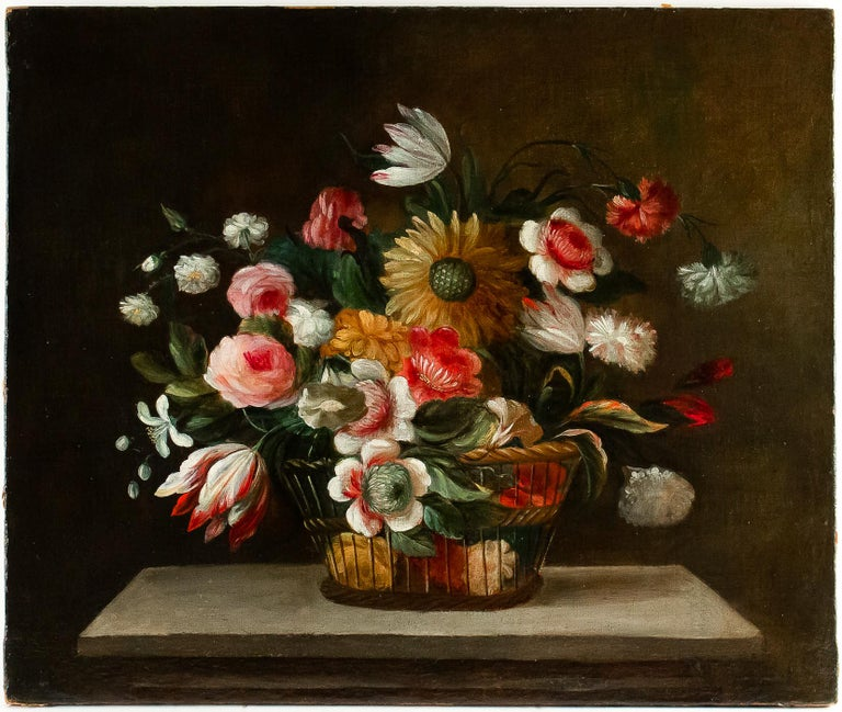 18th Century French School, Pair of Oil on Canvas Bouquets of Flowers For Sale 6