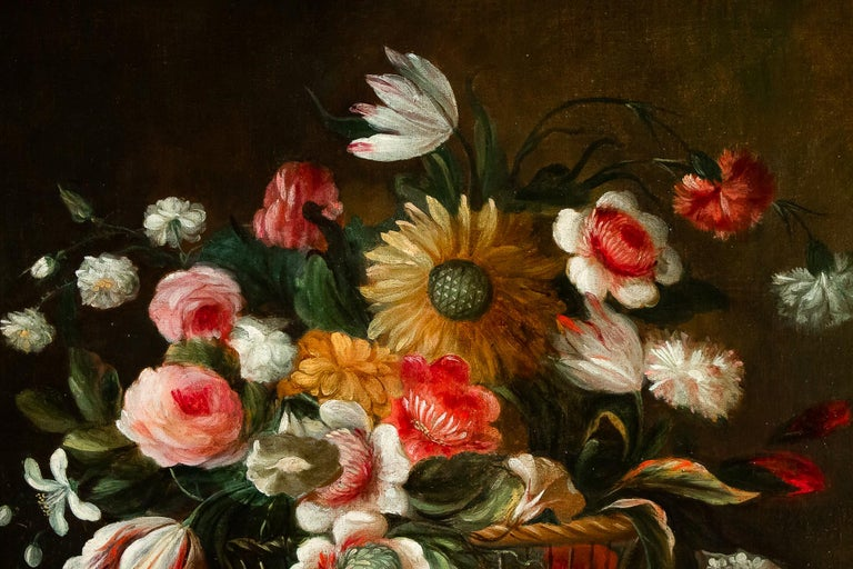 18th Century French School, Pair of Oil on Canvas Bouquets of Flowers For Sale 7