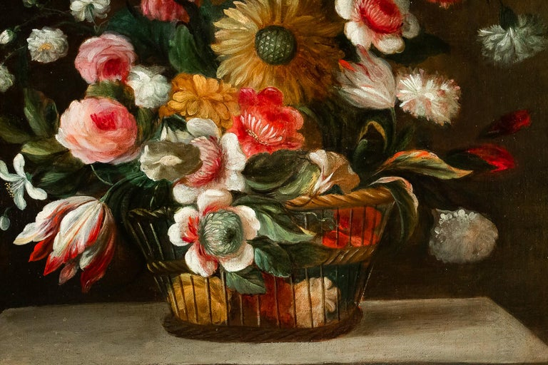 18th Century French School, Pair of Oil on Canvas Bouquets of Flowers For Sale 8