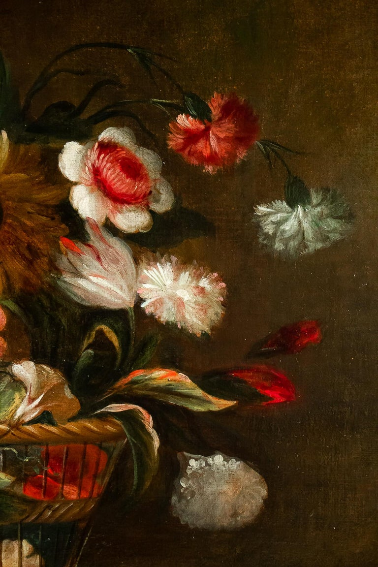 18th Century French School, Pair of Oil on Canvas Bouquets of Flowers For Sale 13