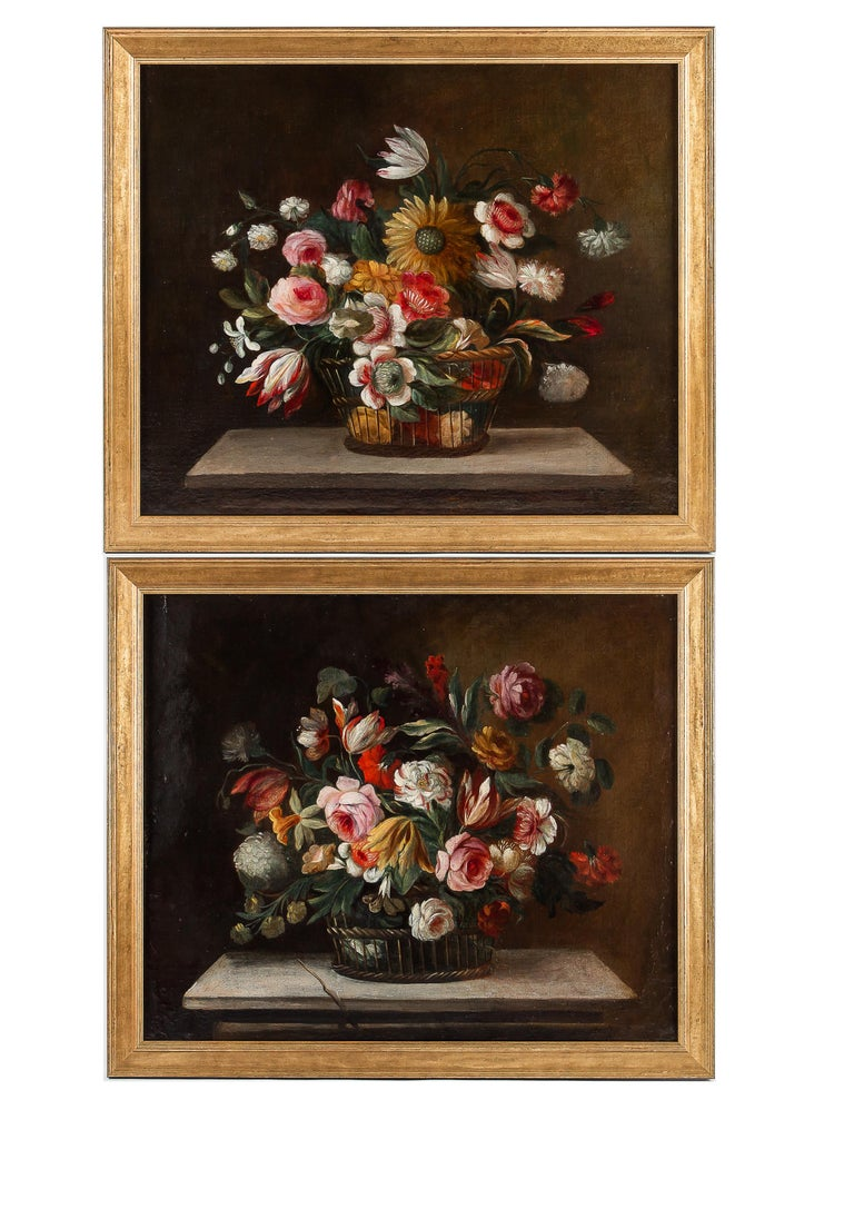 18th century French school, pair of oil on canvas bouquets of flowers with sunflower and roses.