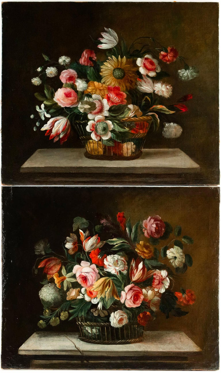 Louis XVI 18th Century French School, Pair of Oil on Canvas Bouquets of Flowers For Sale