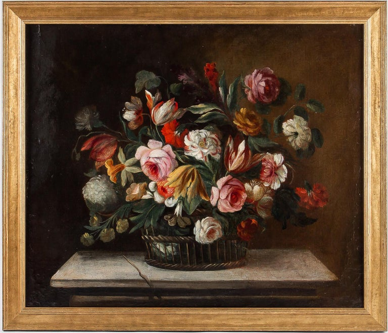 Oiled 18th Century French School, Pair of Oil on Canvas Bouquets of Flowers For Sale