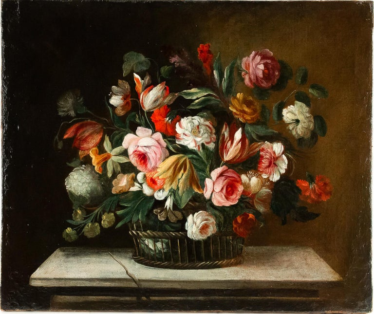 18th Century French School, Pair of Oil on Canvas Bouquets of Flowers In Good Condition For Sale In Saint Ouen, FR