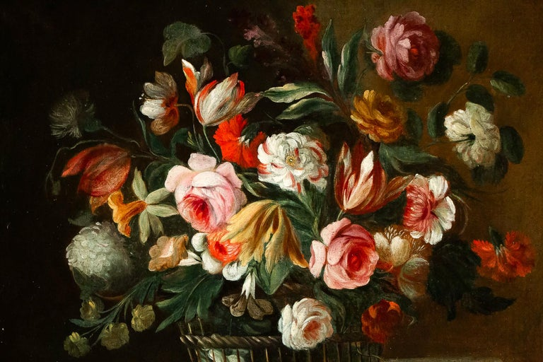 Late 18th Century 18th Century French School, Pair of Oil on Canvas Bouquets of Flowers For Sale