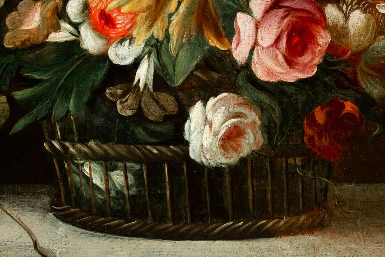 18th Century French School, Pair of Oil on Canvas Bouquets of Flowers For Sale 1