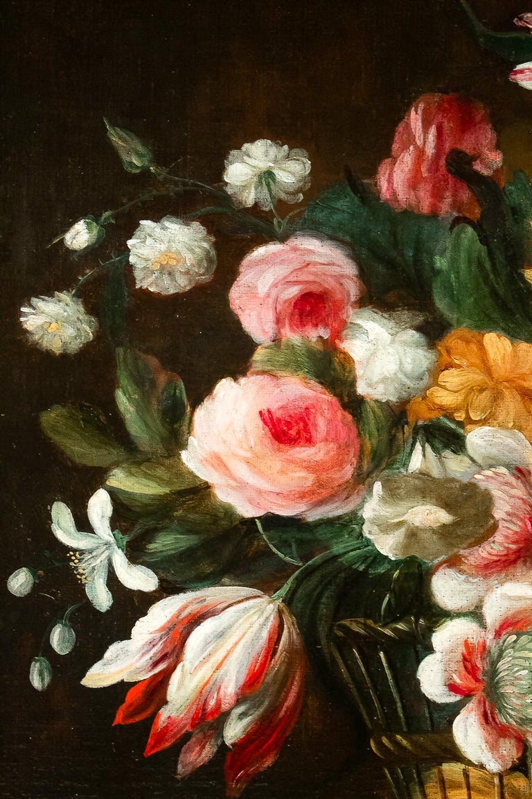 18th Century French School, Pair of Oil on Canvas Bouquets of Flowers For Sale 2