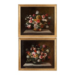 18th Century French School, Pair of Oil on Canvas Bouquets of Flowers