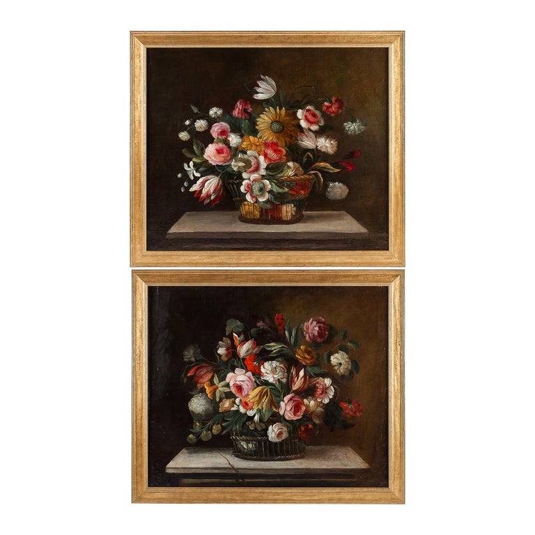 18th Century French School, Pair of Oil on Canvas Bouquets of Flowers For Sale
