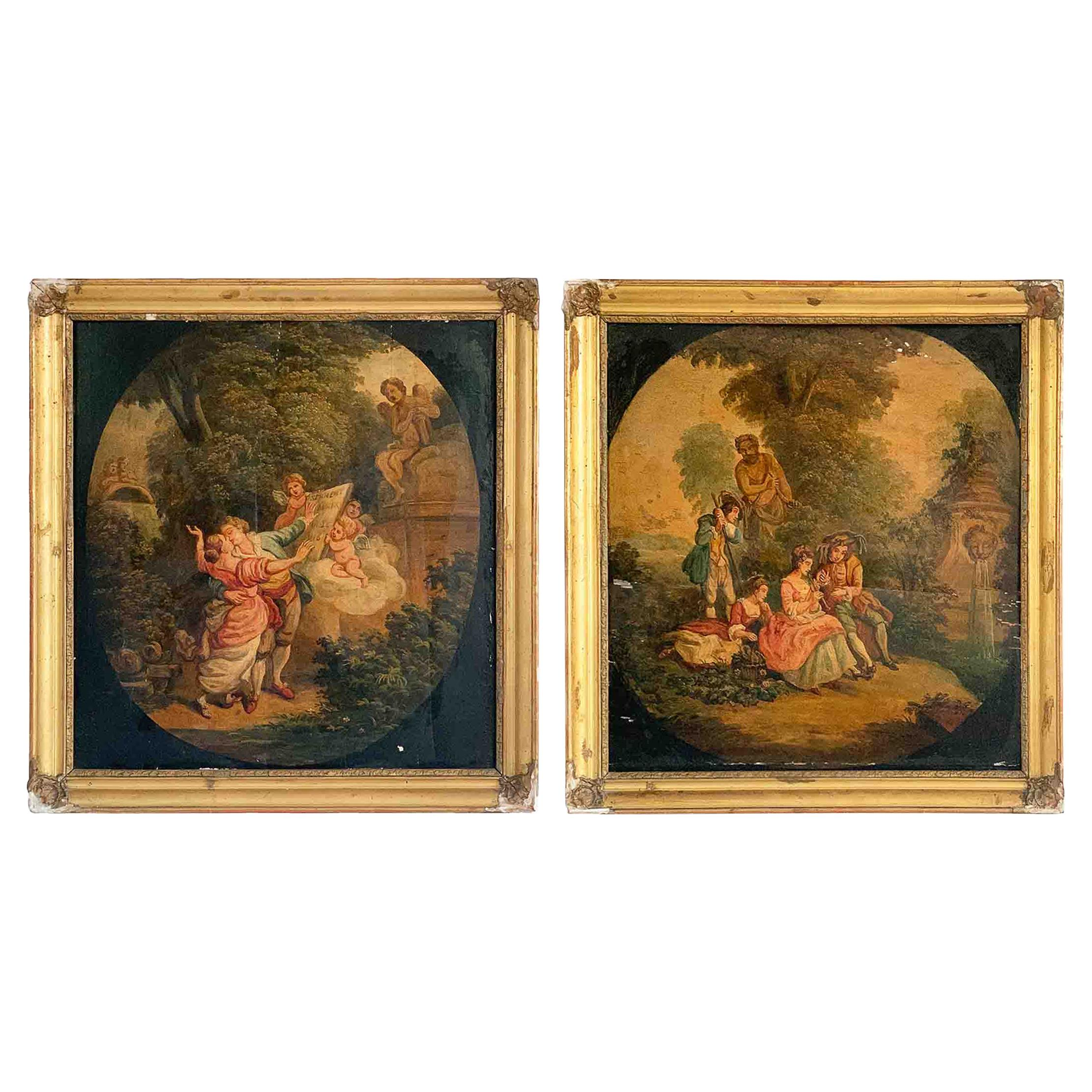 """18th Century French School Pair of Panels """"The oath"""" & """"The concert in the park"""""""