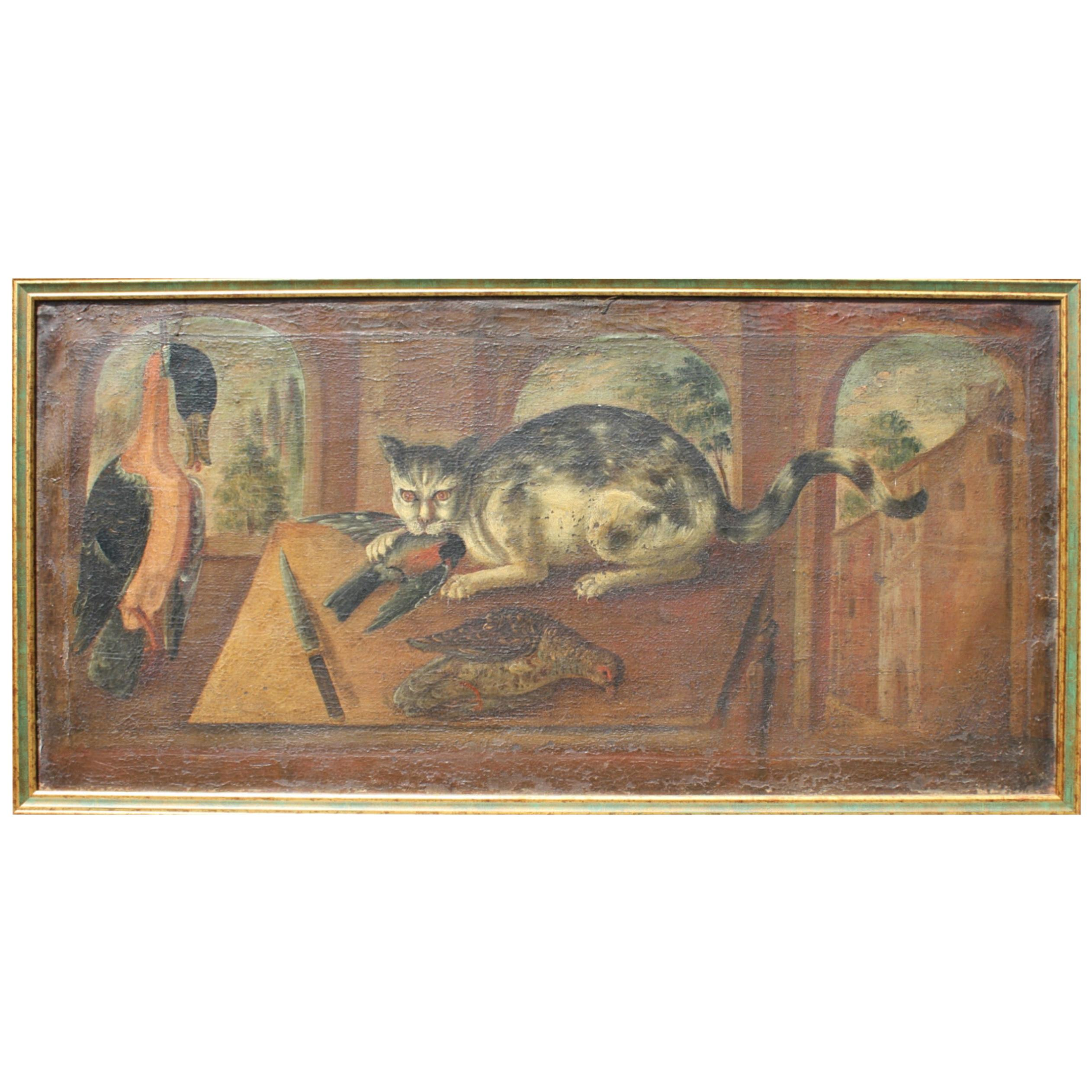18th Century French School Provincial Folk Art Oil on Canvas the Unruly Cat