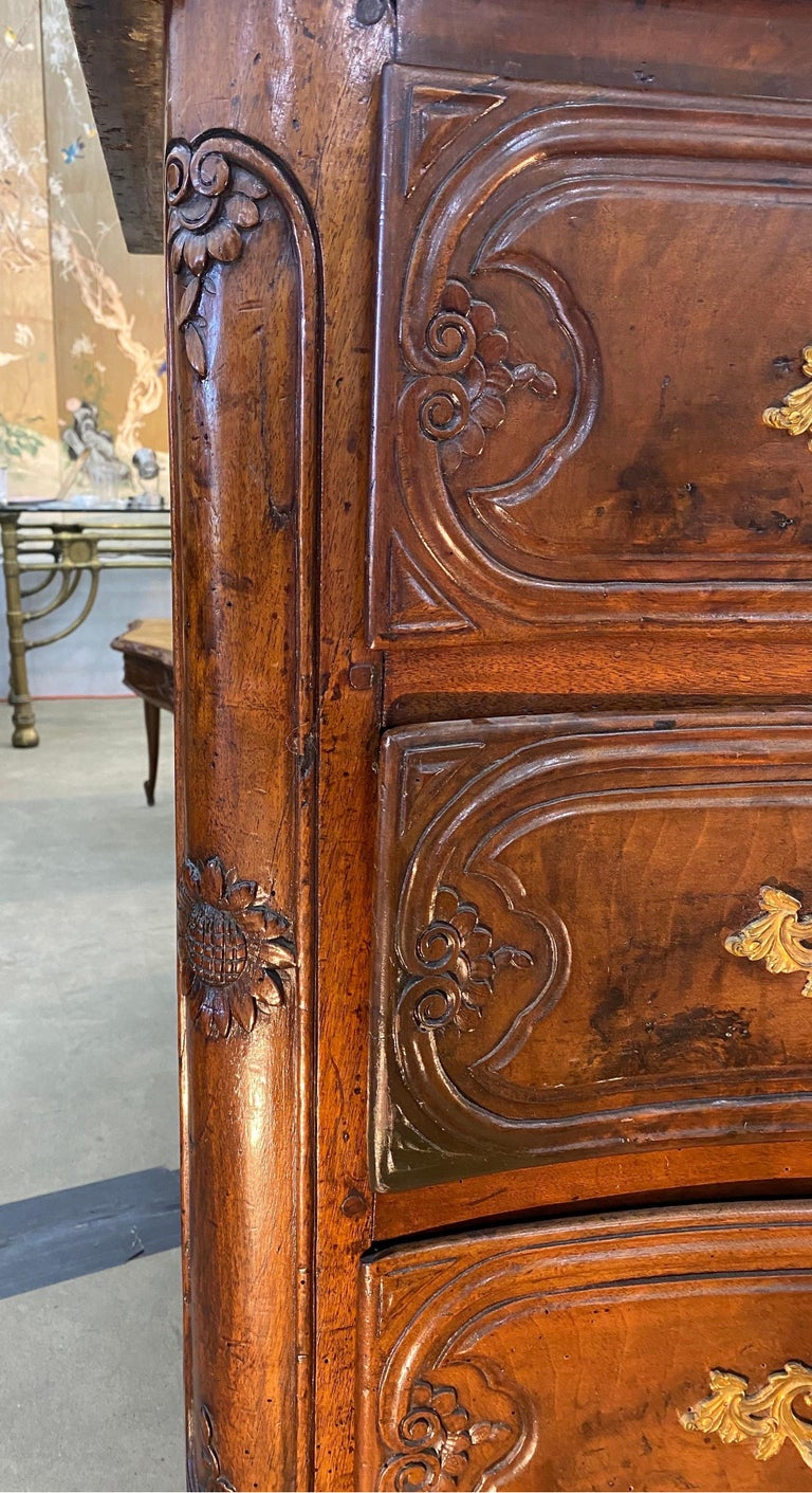 18th Century French Serpentine Marble Top Walnut Commode with Sunflowers For Sale 1