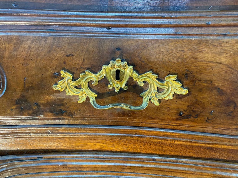 18th Century French Serpentine Marble Top Walnut Commode with Sunflowers For Sale 2