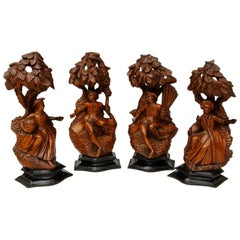 18th Century French Set of Carved Four Seasons Figures