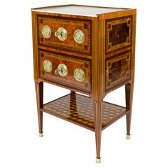 18th Century French Small Louis XVI Marquetry Side Table or Table Chiffonière