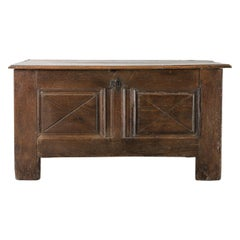 18th Century French Solid Oak Coffer with Inlaid Panel Details