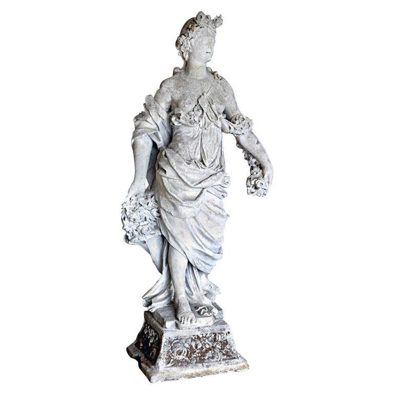 18th Century French Stone Statue of Flora For Sale