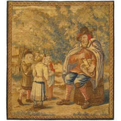 Framed 18th Cent. French Rustic Tapestry, a Pedant Instructing Children in Music