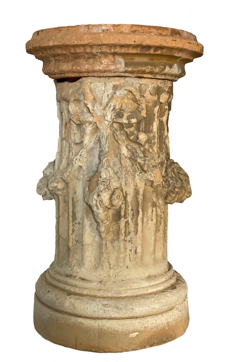 19th Century French Terracotta Garden Columns by Louis Gossin, Paris In Good Condition For Sale In Houston, TX
