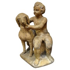 18th Century French Terracotta Sculpture, Child with Dog