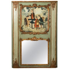"18th Century French Trumeau Mirror ""Gentlemen Playing Cards"""